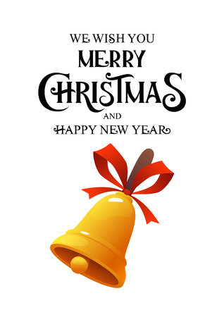 Merry Christmas vintage vector gold bell on white background Ilustracja