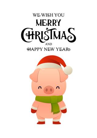 Cute Pig cartoon character in Santa hat happy Christmas and New year card poster vector illustration Ilustracja