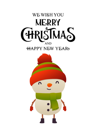 Cheerful cute snowman vector illustration on white background isolated christmas character