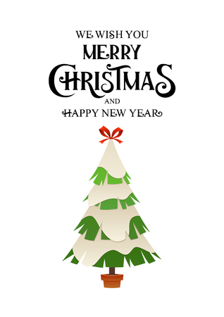 Christmas tree in winter with snow cartoon vector card for design isolated