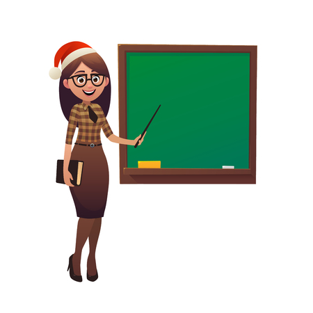 Female teacher in Santa Claus hat shows with pointer on school board on white background