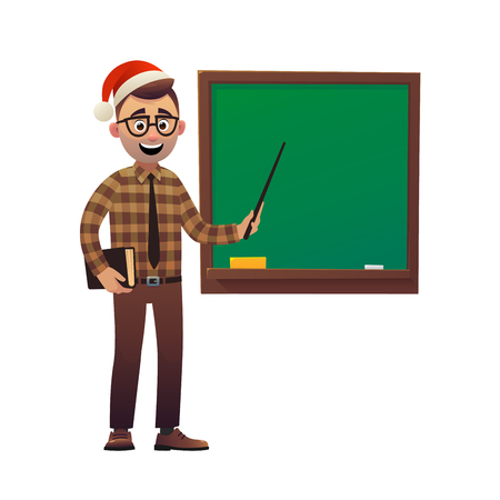 Teacher in Santa Claus hat shows with pointer on school board on white background