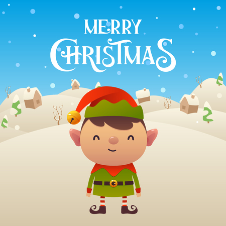 Cute cartoon Elf character Merry Christmas and Happy New Year background vector