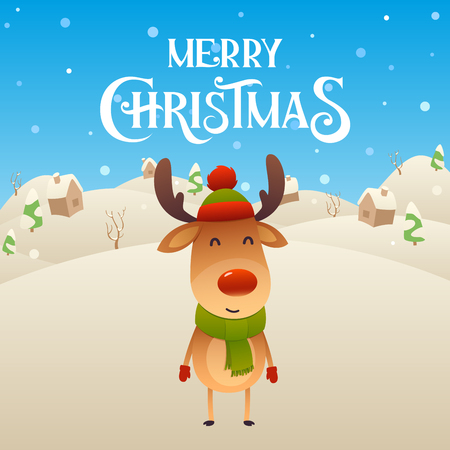 Cute cartoon reindeer character Merry Christmas and Happy New Year background vector