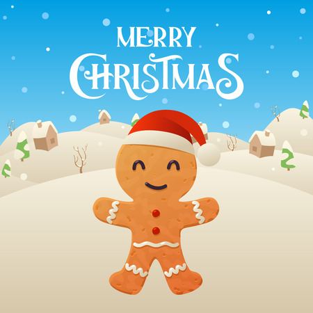 Cute cartoon gingerbread character Merry Christmas and Happy New Year background vector