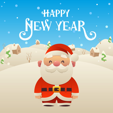 Cute cartoon Santa Claus character Merry Christmas and Happy New Year background vector Ilustracja