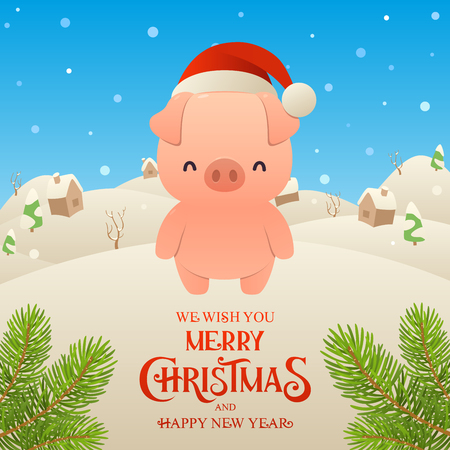 Cute cartoon pig in Santa Claus hat character Merry Christmas and Happy New Year background vector
