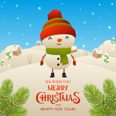 Cute cartoon snowman character Merry Christmas and Happy New Year background vector