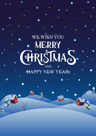 Snowy night village with text Merry Christmas and Happy New Year vector