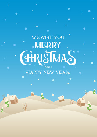 Holiday Christmas village with text Merry Christmas and Happy New Year vector