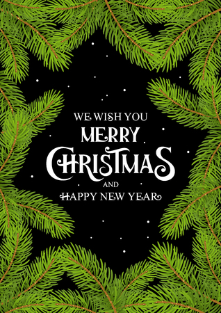 Merry Christmas and Happy New Year text with Fir Tree branch Card Black Background vector Ilustracja