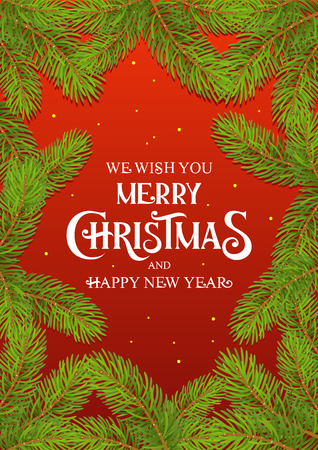 Merry Christmas and Happy New Year text with Fir Tree branch Card Red Background vector