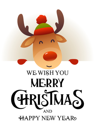 Cute reindeer stands behind signboard advertisement banner with text Merry Christmas and Happy New Year vector