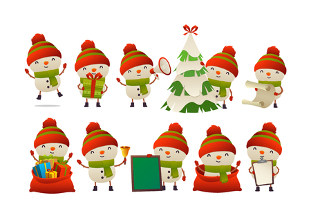 Collection of happy cute Christmas snowman isolated vector on white background