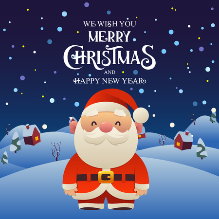 Cute cartoon Santa Claus character Merry Christmas and Happy New Year background night village