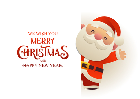 Happy cute Santa Claus stands behind signboard advertisement banner with text Merry Christmas and Happy New Year vector
