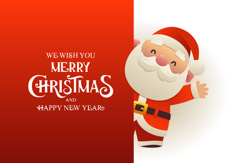 Happy cute Santa Claus stands behind red signboard advertisement banner with text Merry Christmas and Happy New Year vector