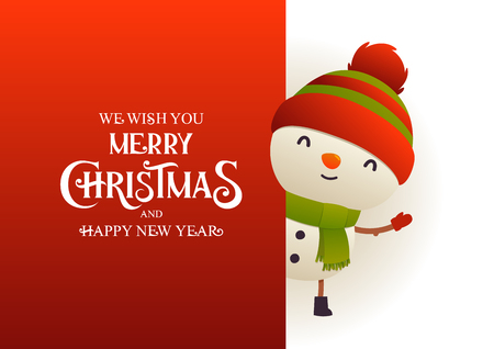 Cute snowman stands behind red signboard advertisement banner with text Merry Christmas and Happy New Year vector