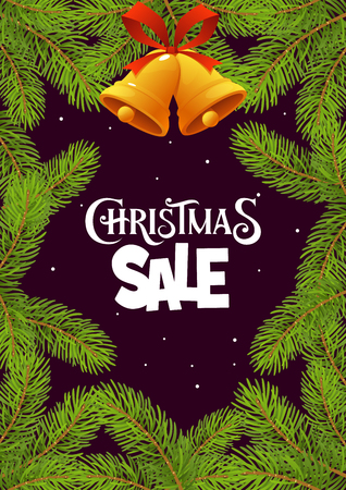 Christmas sale with branches on black background vector Illustration