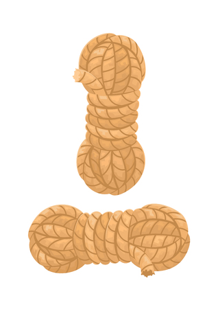 Roll of ship rope cartoon vector illustration isolated on white background