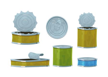 Various tin cans isolated on white background vector Vektoros illusztráció