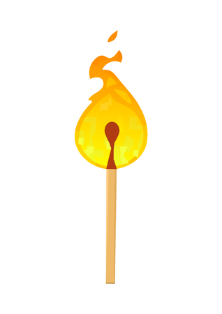 Burning match with fire isolated on white background vector