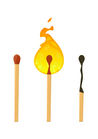 Realistic brand new, burning and burnt match sticks on white background vector Illustration