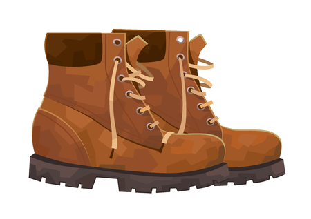 Hiking boots mountain shoes isolated on white background vector Illustration