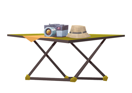 Tourist table with camera and hat isolated on white background vector