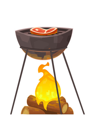 BBQ and grill illustration barbecue with meat vector Illustration