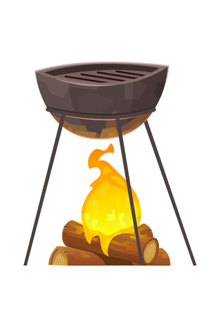 Barbecue and grill isolated on white background vector