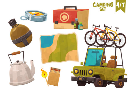 Medicine chest teapot flask map compas car with bicycles camping set vector