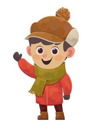 Cartoon cute boy in red winter jacket vector on white background