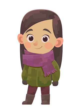 Cute little girl in winter clothes in cartoon style on white background Ilustracja