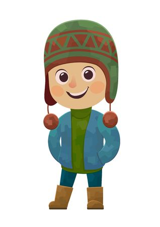 Cute little boy in winter clothes smiling vector