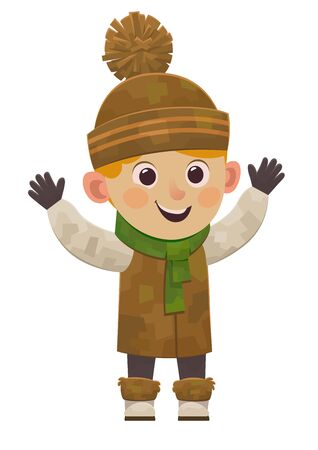 Cute cartoon boy in winter clothes smiling vector isolated