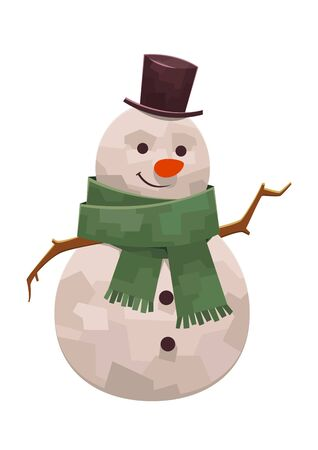 Kind cute snowman with scarf and hat smiling vector illustration Ilustracja