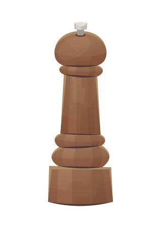 Wooden pepper grinder mill on white background vector