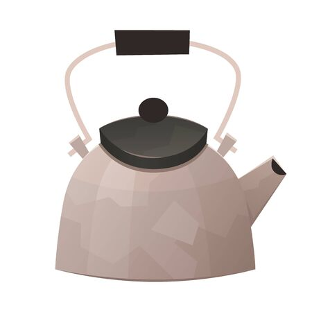 Steel kettle in cartoon style isolated on white background vector