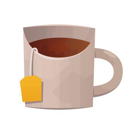 Vector white tea mug isolated on white background Illusztráció