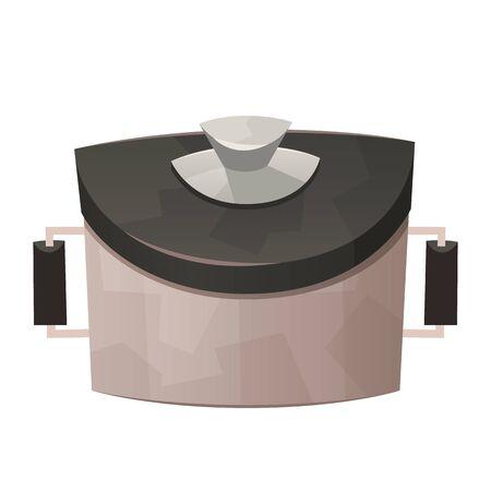Kitchen steel pot isolated on white background vector Illusztráció