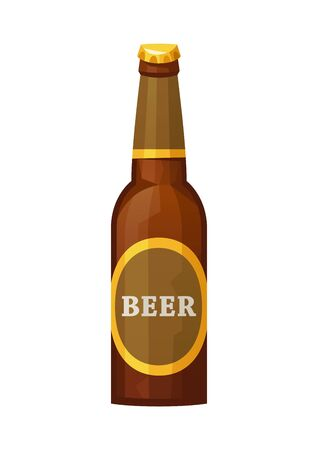 Glass beer brown bottle on white background isolated vector Illusztráció