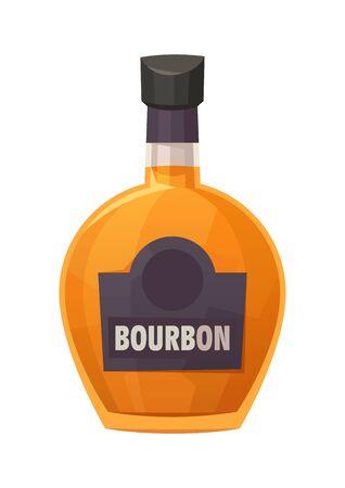 Glass bottle of Bourbon on white background vector