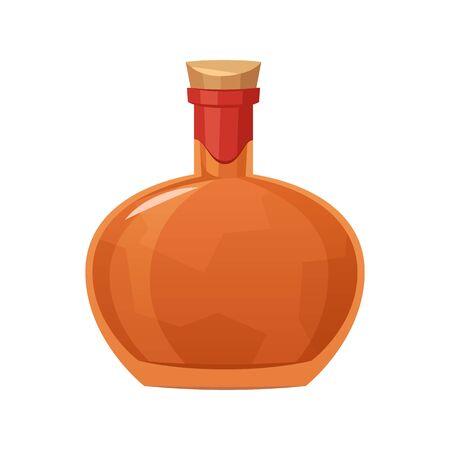 Glass bottle of cognac on white background vector Illusztráció