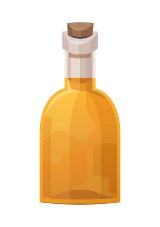 Glass bottle of rum on white background vector Illusztráció