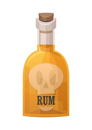 Glass bottle of pirate rum on white background vector