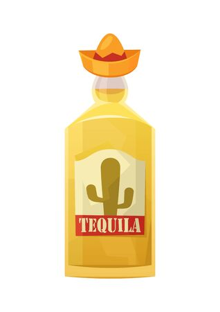 Glass bottle of tequila on white background vector 向量圖像