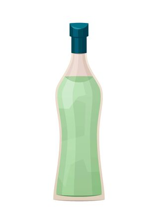 Glass bottle of vermouth on white background vector
