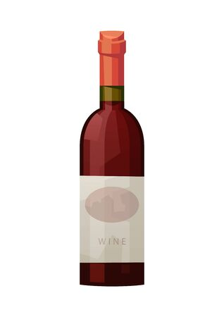 Glass bottle of red wine on white background vector