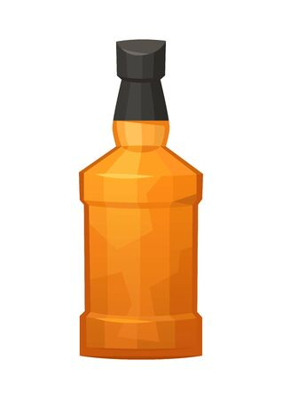 Glass bottle of whiskey on white background vector
